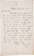 "Autographs:Celebrities, Frederick Douglass Autograph Letter Signed ""Fredk Douglass.""One page, 5"" x 8"", Rochester [New York], January 20, 1862, ..."