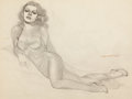 Pin-up and Glamour Art, JOSEPH DE MARTINI (American, 1896-1984). Sketch of a Woman.Pencil on paper. 16.5 x 22 in.. Signed center right. ...
