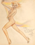 Pin-up and Glamour Art, JOSEPH F. DE MARTINI (American, b. 1927). Rainbow Pin-Up.Colored pencil and pencil on paper. 23.5 x 18.5 in.. Signed ce...