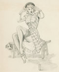 Pin-up and Glamour Art, VAUGHAN ALDEN BASS (American, 20th Century). TheFirecracker. Pencil on paper. 12.75 x 10.75 in.. Not signed....