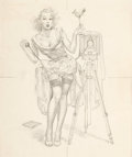 Pin-up and Glamour Art, VAUGHAN ALDEN BASS (American, 20th Century). Watch the Birdie,study. Pencil on paper. 13 x 10.5 in.. Not signed. ...