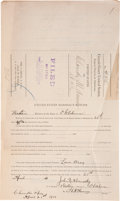"Autographs:Celebrities, Henry ""Heck"" Thomas Autograph Document Signed ""H. A. Thomas""as deputy U.S. Marshal. Two partially-printed pages, 8...."
