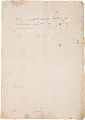 "Autographs:Authors, Giacomo Casanova Autograph Letter Signed ""Giacomo Casanova."" One page, 11.5"" x 8.25"", n.p., n.d., in Italian on watermar..."