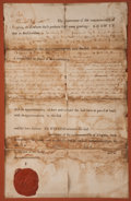 "Autographs:U.S. Presidents, Thomas Jefferson Document Signed ""Th:Jefferson"" as governorof Virginia. One partly-printed page, 8"" x 12.5"" (sight), Ri..."