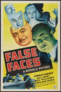"Movie Posters:Mystery, False Faces (Republic, 1943). One Sheet (27"" X 41""). Mystery.. ..."