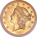 Liberty Double Eagles, 1857-O $20 MS62 NGC. CAC....