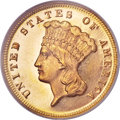Three Dollar Gold Pieces, 1872 $3 MS64 NGC. CAC....