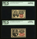 Fractional Currency:Fifth Issue, Fr. 1266 10¢ Fourth Issue & Fr. 1309 25¢ Fourth Issue. . ...(Total: 2 notes)