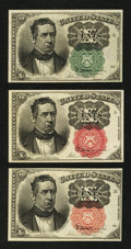 Fractional Currency:Fifth Issue, Fifth Issue 10¢ Fractionals. . ... (Total: 3 notes)