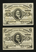 Fractional Currency:Third Issue, Fr. 1238 5¢ Third Issue & Fr. 1239 5¢ Third Issue.. ... (Total: 2 notes)