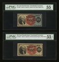 Fractional Currency:Fourth Issue, Fr. 1301 & Fr. 1303 25¢ Fourth Issue Pair. . ... (Total: 2 notes)