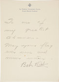 Autographs:Others, Circa 1940 Babe Ruth Signed Note....