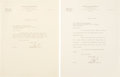 Golf Collectibles:Autographs, 1949 Bobby Jones Signed Letters Lot of 2....