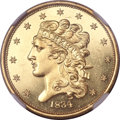 Proof Classic Half Eagles, 1834 Classic Head Half Eagle, Plain 4, PR63 Cameo NGC. First Head, Large Plain 4, Breen-6501, McCloskey 1-A, R.7 as a Proo...