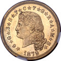 Patterns, 1879 $4 Flowing Hair Four Dollar, Judd-1637, R.8, PR64 Gilt NGC....