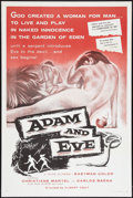 "Movie Posters:Drama, Adam and Eve (William A. Horne, 1958). One Sheet (27"" X 41"") Flat Folded. Drama.. ..."