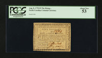 North Carolina August 8, 1778 $5 The Rising States PCGS About New 53
