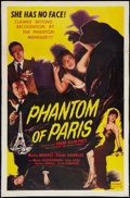 """Movie Posters:Mystery, The Mystery of Marie Roget (Realart, R-1951). One Sheet (27"""" X 41"""")Also Known As """"Phantom of Paris."""" Mystery.. ..."""