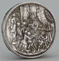 Silver Holloware, Continental:Holloware, AN AMERICAN SILVER PLAQUE WITH REPOUSSÉ DOMESTIC SCENE . HenrykWinograd, American, circa 1970. Marks: HW999. 0-3/4 x 5...