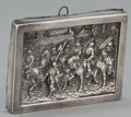 Silver Holloware, American:Other , AN AMERICAN SILVER REPOUSSÉ PLAQUE DEPICTING KNIGHTS ON HORSEBACK .Henryk Winograd, American, circa 1970. Marks: HW999,...