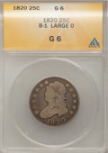 Bust Quarters, 1820 25C Large O Good 6 ANACS. B-1. NGC Census: (0/9). PCGS Population (0/76). Mintage: 127,444. Numismedia Wsl. Price for...
