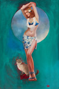 Pin-up and Glamour Art, AMERICAN ARTIST (20th Century). Pin-Up. Oil on canvas. 30 x20 in.. Initialed lower right (illegible). ...