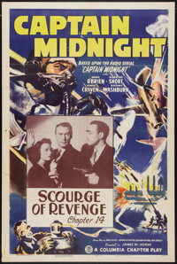"Captain Midnight (Columbia, 1942). One Sheet (27"" X 41"") Chapter 14 -- ""Scourge of Revenge."" Serial..."