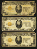Small Size:Gold Certificates, Fr. 2402 $20 1928 Gold Certificates. Three Examples. Very Good or Better.. ... (Total: 3 notes)