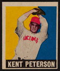 Baseball Cards:Singles (1940-1949), 1948 Leaf Kent Peterson, Red Cap Variation #42 - In Magenta Ink....