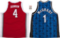 Basketball Collectibles:Others, Tracy McGrady Signed Jersey, Dr. J Signed Ticket and Unsigned Larry Johnson Jersey....