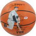 Baseball Collectibles:Balls, Joe DiMaggio Single Signed Leather NBA Painted Basketball....