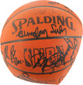 Basketball Collectibles:Balls, 1990's NBA All-Stars Multi Signed Official Leather Basketball....