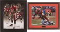 Football Collectibles:Photos, Cadillac Williams and Chad Johnson Signed Oversized Photographs Lot of 2....