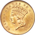 Gold Dollars, 1858-S G$1 MS63 PCGS. CAC....