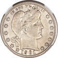 Barber Quarters, 1901-S 25C --Improperly Cleaned--NGC Details. VF....