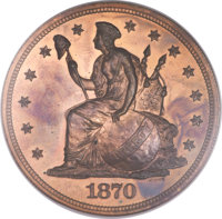 1870 $1 Standard Silver Dollar, Judd-1010, Pollock-1143, R.7, PR64 Red and Brown NGC....(PCGS# 71258)