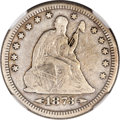 Seated Quarters, 1873-CC 25C Arrows Fine 12 NGC....