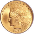 Indian Eagles, 1908 $10 Motto MS65+ PCGS. CAC....