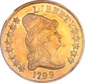 Early Eagles, 1799 $10 Large Stars Obverse AU58 NGC. Breen-6841, BD-10, R.3....