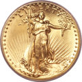 High Relief Double Eagles, 1907 $20 High Relief, Flat Rim MS65 PCGS....