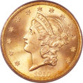 Liberty Double Eagles, 1857-S $20 Bold S MS66 PCGS....