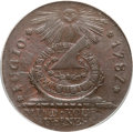 Colonials, 1787 1C Fugio Cent, STATES UNITED, 4 Cinquefoils, Pointed Rays MS64 Brown PCGS. CAC. Newman 13-X, W-6855, R.2....
