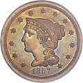 Proof Large Cents, 1857 1C Small Date PR65 Brown PCGS Secure. CAC. N-5, R.5+....