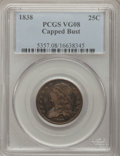 Bust Quarters: , 1838 25C VG8 PCGS. PCGS Population (2/216). NGC Census: (0/178).Mintage: 366,000. Numismedia Wsl. Price for problem free N...