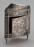 Silver Smalls:Other , AN AMERICAN SILVER MINIATURE CORNER CABINET . Maker unidentified,probably American, circa 1890. Marks: (script A crowned), ...
