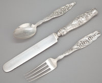 AN EIGHTEEN PIECE AMERICAN SILVER FLATWARE SERVICE Whiting Manufacturing Company, New York, New York, circa 1885<...