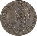 """Colonials, """"1774"""" 1/2P Contemporary Counterfeit British Halfpenny--DoubleStruck, Second Strike 35% Off Center--XF40 PCGS...."""
