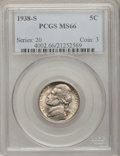 Jefferson Nickels: , 1938-S 5C MS66 PCGS. PCGS Population (658/25). NGC Census:(503/254). Mintage: 4,105,000. Numismedia Wsl. Price for problem...