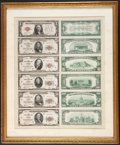 Small Size:Federal Reserve Bank Notes, Set of Front and Back Die Proofs Featuring a $1 1928 Legal Tender Note and $5 through $100 Chicago 1929 FRBNs. . ...