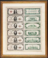 Set of Front and Back Die Proofs Featuring a $1 1928 Legal Tender Note and $5 through $100 Chicago 1929 FRBNs